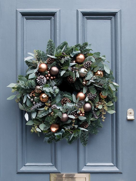 21-beautiful-copper-and-mink-baubles-frosted-pine-cones-and-miniature-copper-bells-for-the-wreath