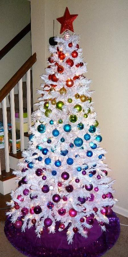 06-such-colorful-ornaments-look-amazing-on-a-crispy-white-tree-and-stand-out-even-more