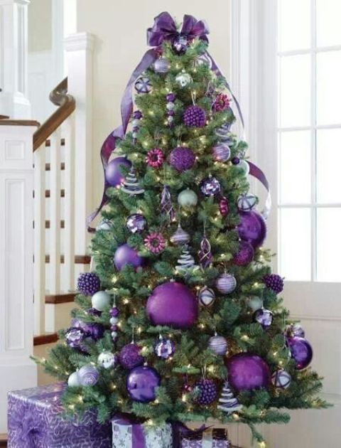 09-purple-Christmas-tree-with-oversized-glitter-ornaments-and-smaller-ones