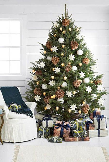 21-oversized-pinecones-gold-and-white-ornaments-look-elegant-together