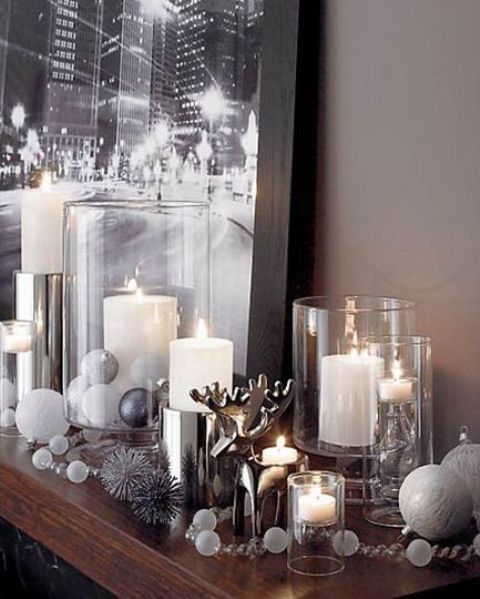 32-metallic-and-white-mantel-decor-with-large-candles