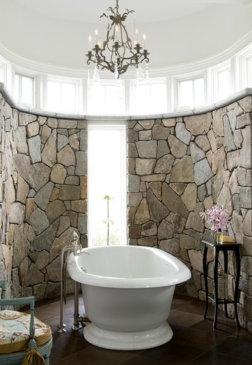Stone Wall Bathroom via House of Turquoise