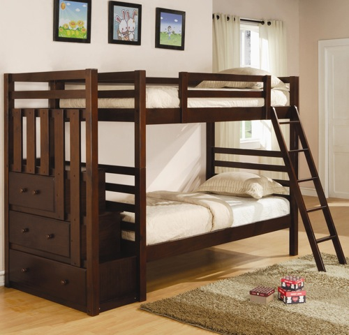 Twin over Twin Dark Cherry Bunk Bed via Kids Only Furniture