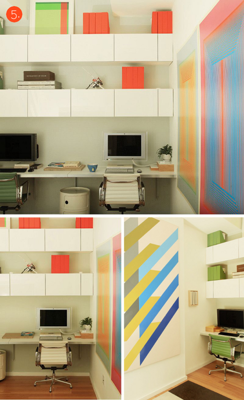 Colorblocked Office with IKEA pieces via ManMade DIY