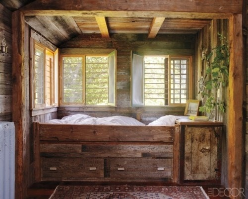 Rustic Box Bed via Elle Decor
