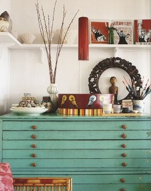 Vintage Green Flat-File Cabinet via Apartment Therapy