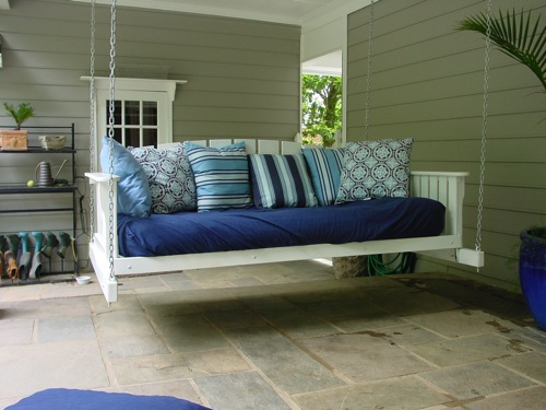 White Daybed Swing from Porch Swings Plus