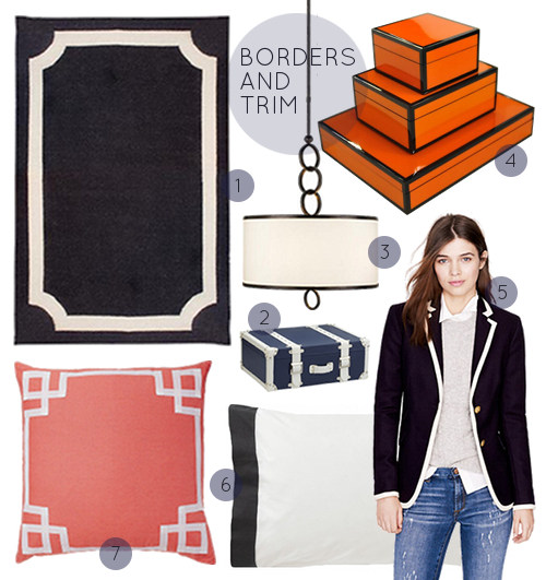 1. Mansard Rug $165 | 2. Navy Trunks $665 for 2 | 3. Pendant $651 | 4. Lacquered Boxes $90+ | 5. J. Crew Jacket $298 | 6. Ink Pillowcases $100 | 7. Coral Deco Pillow $55