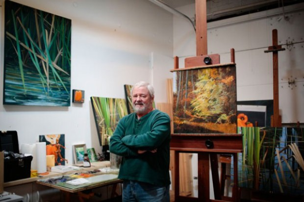 Painter Paul Rowntree poses for a portrait inside his home studio Mar. 28, 2012 in Columbus, Ohio. A selection of Rowntree's work will be on display in the German Village Meeting Haus through April.