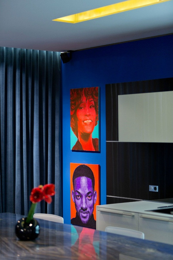 urban-apartment-wall-design-ideas-neon-portrait-painting