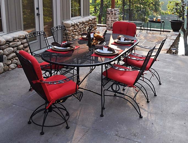fantastic-outdoor-dining-furniture-set-wrought-iron-oval-table-red-seating-pads
