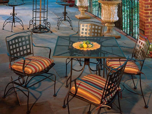 garden-dining-furniture-wrought-iron-set-square-table-striped-pads