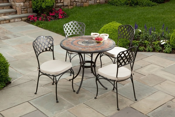 modern-patio-design-round-wrought-iron-mosaic-table-chairs