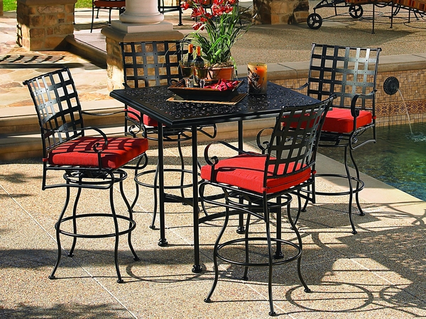 outdoor-swimming-pool-furniture-wrought-iron-set-square-table-elegant-chairs