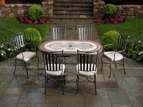 wrought-iron-patio-furniture-mosaic-table-oval-shape-contemporary-patio-design