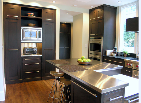 Stainless-steel-countertops-black-kitchen-cabinets