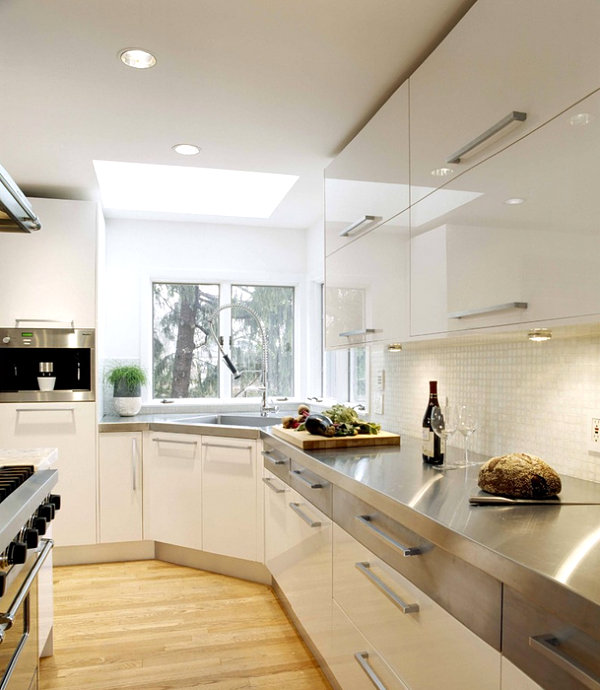 contemporary-white-kitchen-design-stainless-steel-countertops-appliances