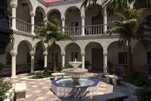 Modern-Spanish-Patio-traditional-elements-central-fountain