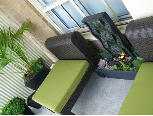balcony-water-features-fountain-water-plants-mini-pond-recliner-rattan
