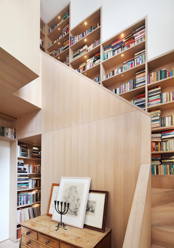 creative-wall-bookshelves-designs-modern-home-contemporary-staircase-light-wood