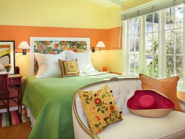 how-to-decorate-a-small-bedroom-color-palette-yellow-orange-green-bedding