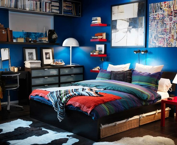 ikea-small-bedroom-design-small-bedroom-decorating-ideas-bold-blue-wall-color