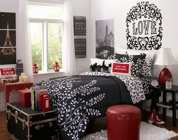 small-bedroom-decorating-ideas-black-white-interior-wall-sticker-red-accents