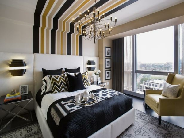 small-bedroom-decorating-ideas-ceiling-wall-stripes-blue-gold-shades