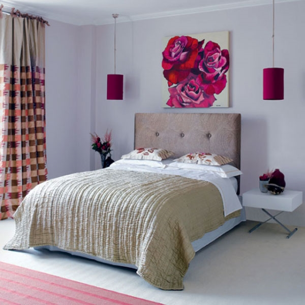 small-bedroom-decorating-ideas-wall-paiting-accent-olor-pendants