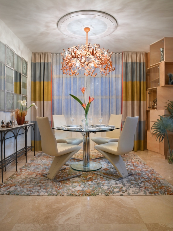 double-curtain-rod-contemporary-dining-room