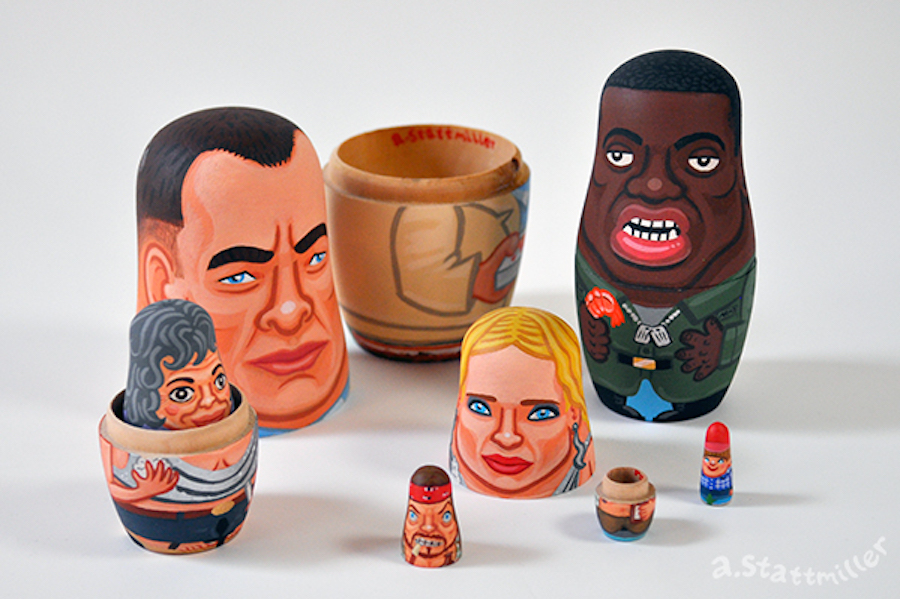 Forrest Gump Nesting Dolls.  Hand painted by Andy Stattmiller.
