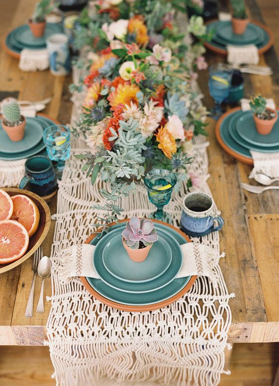bold-boho-table-setting-for-a-boy-baby-shower