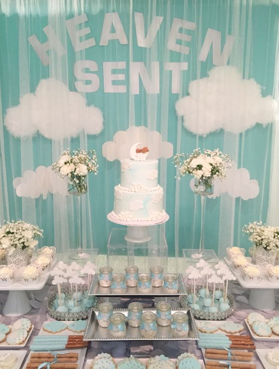 heaven-themed-dessert-table-for-a-boy-baby-shower