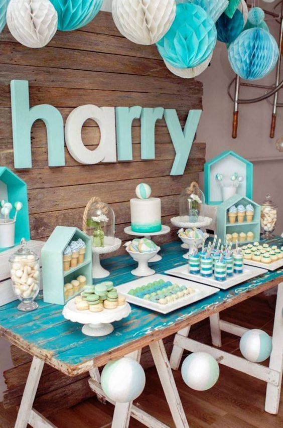 modern-turquoise-dessert-table-for-a-boy-baby-shower