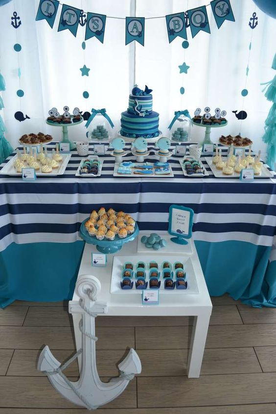 navy-dessert-table-for-a-boy-baby-shower