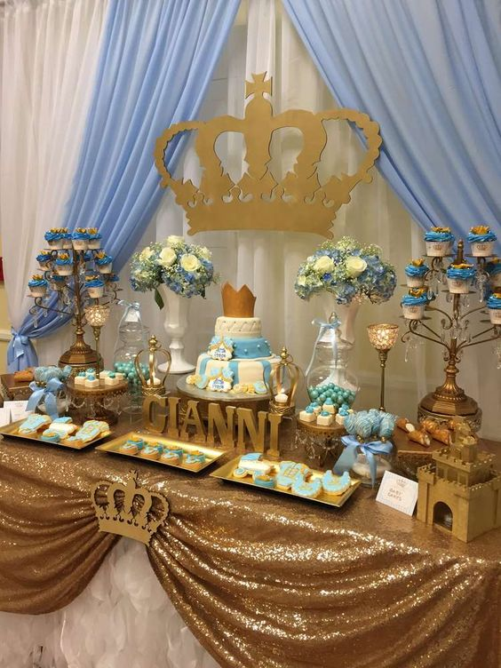 royal-themed-dessert-table-for-a-boy-baby-shower
