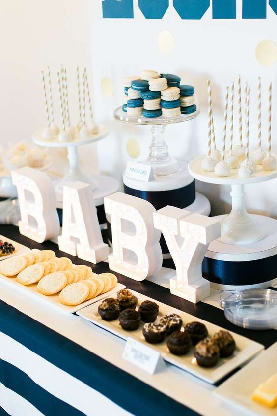 striped-navy-dessert-table-for-a-boy-baby-shower