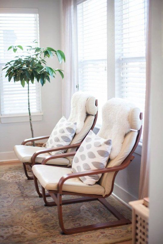22-white-Poang-chair-with-printed-cushions-and-fur-covers