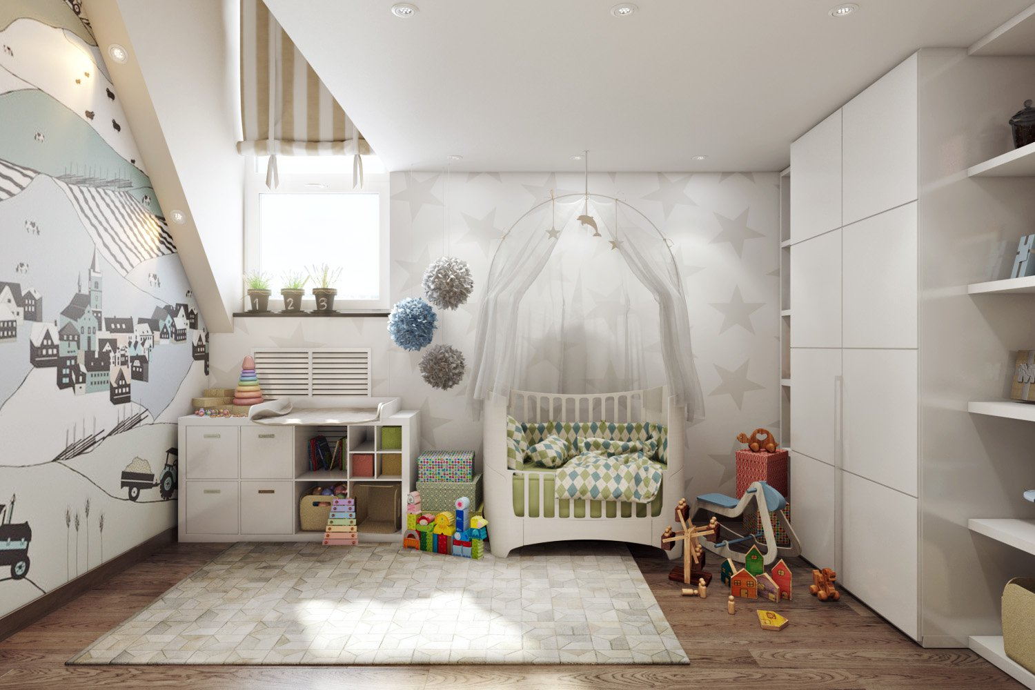 01-Neutral-boys-nursery-design-with-touches-of-green-and-blue
