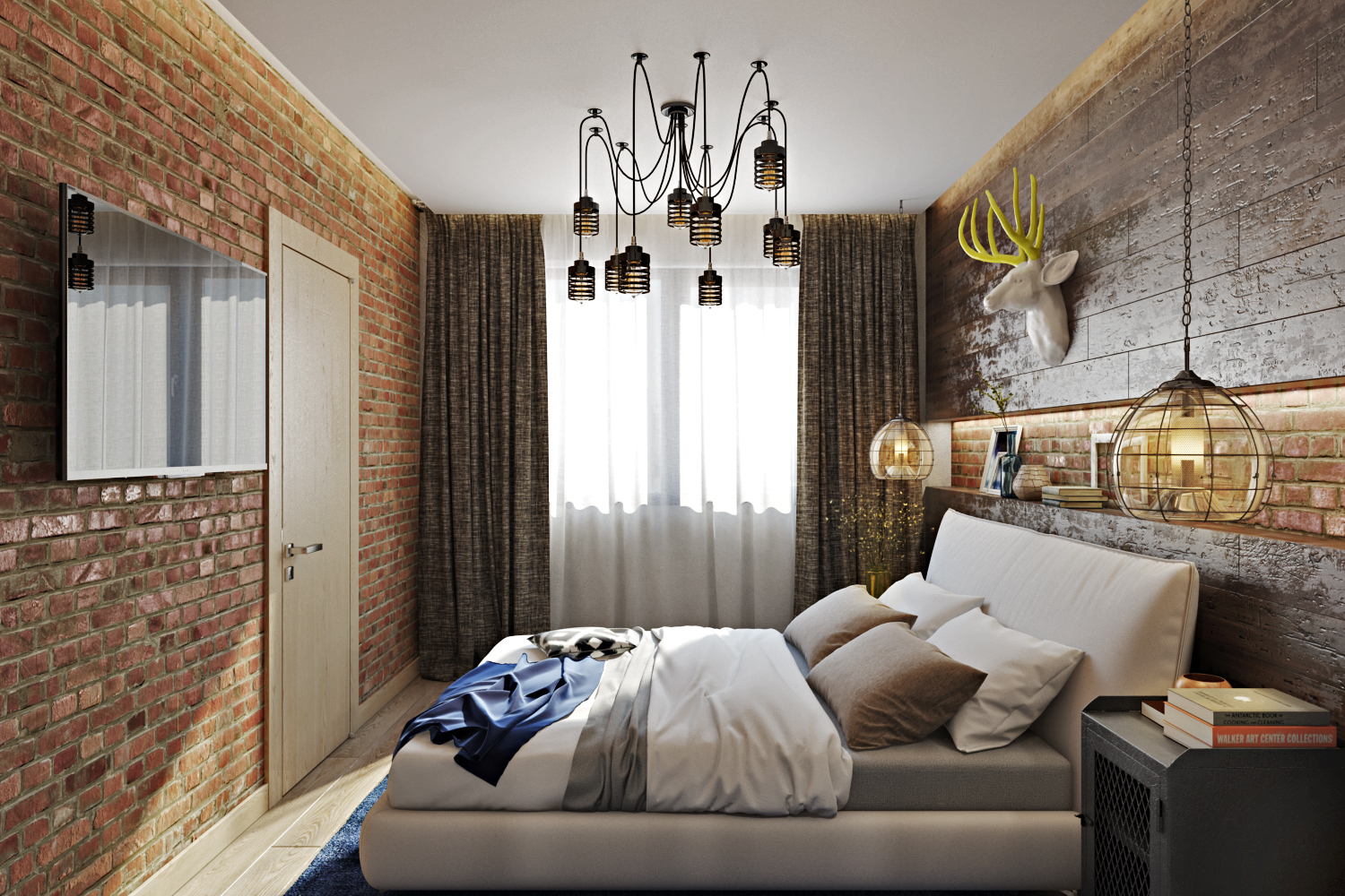 02-Though-the-bedroom-is-small-there-are-a-lot-of-stylish-touches-like-a-brick-wall-or-an-industrial-metal-chandelier