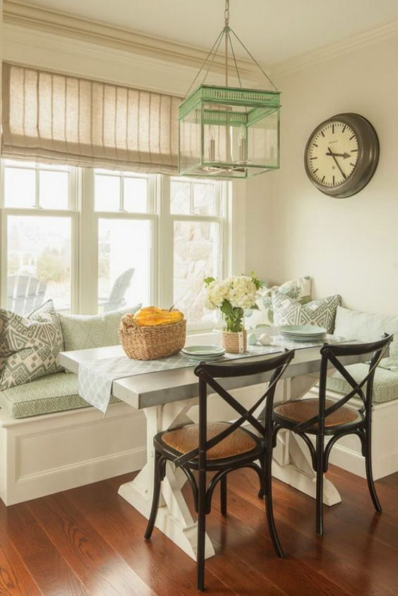 17-aqua-colored-breakfast-nook-with-rustic-touches