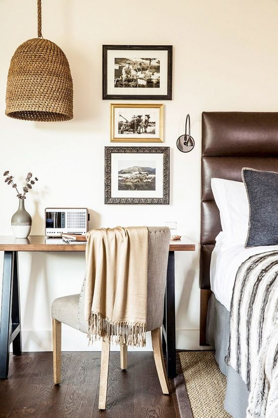 19-warm-colored-bedroom-with-leather-brown-headboard-home-desk-station-and-wicker-lamp