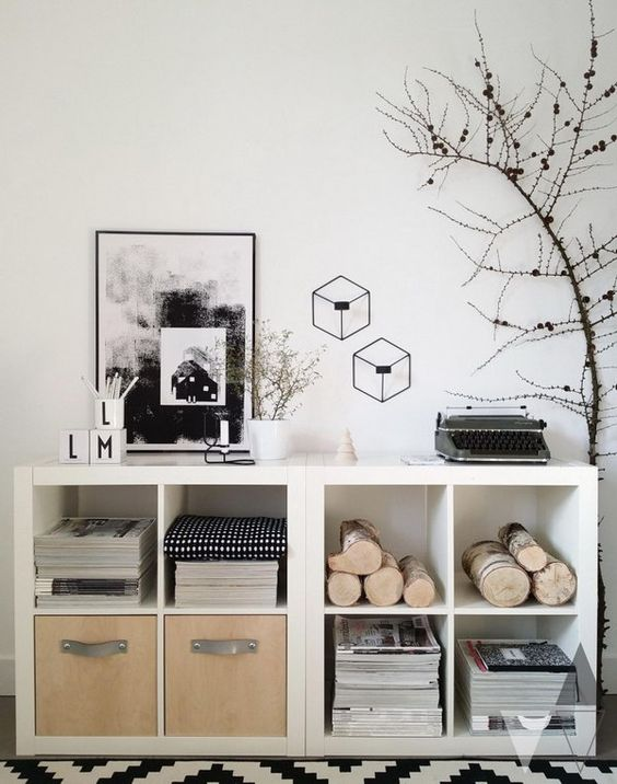 29-white-Kallax-shelving-units-turned-into-storage-units-with-natural-elements.