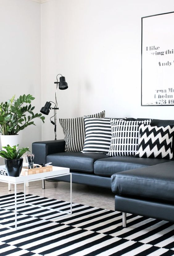 black-and-white-living-room-with-Stockholm-rug