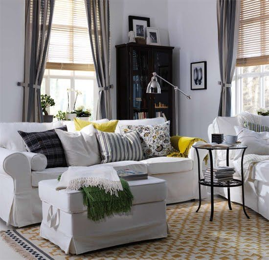 modern-Ektorp-sofa-in-white-with-an-ottoman