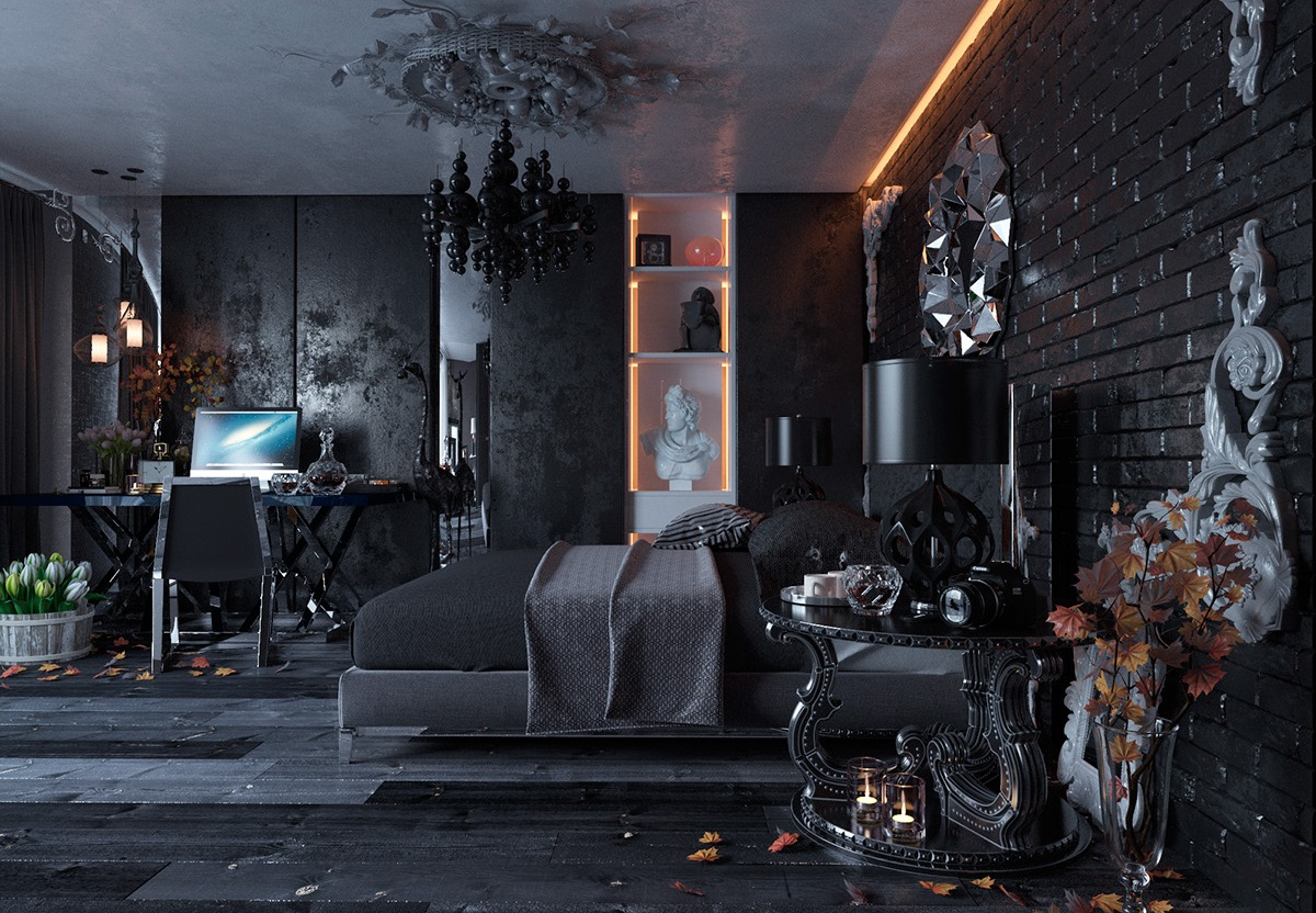 01-This-bedroom-is-styled-in-Neo-Gothic-and-decorated-with-black