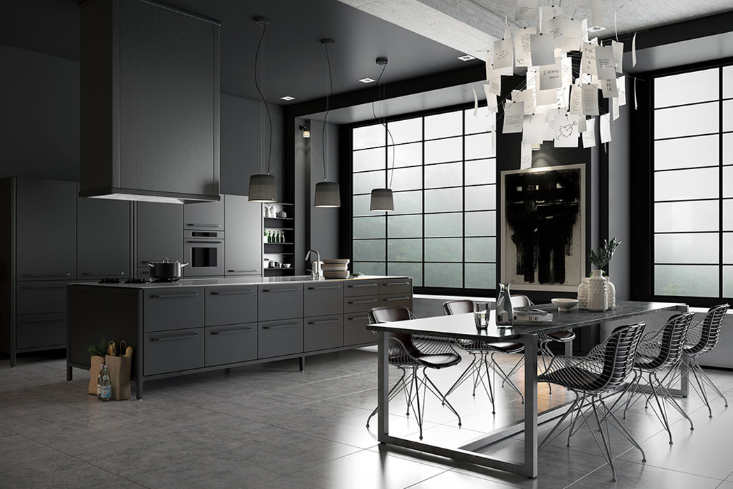 01-This-dark-kitchen-is-decorated-in-moody-colors-with-a-distinct-masculine-feel