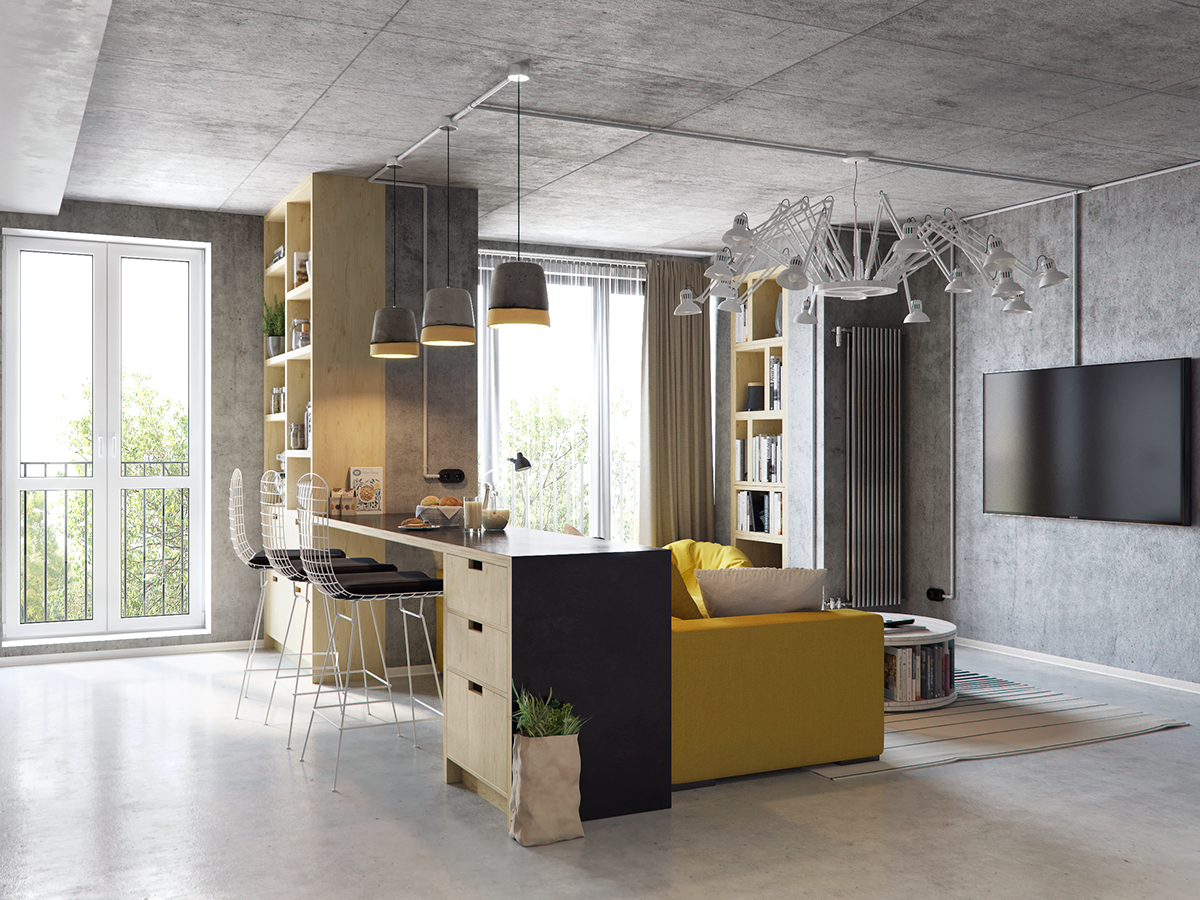 01-This-modern-living-room-and-kitchen-combo-has-industrial-flavor