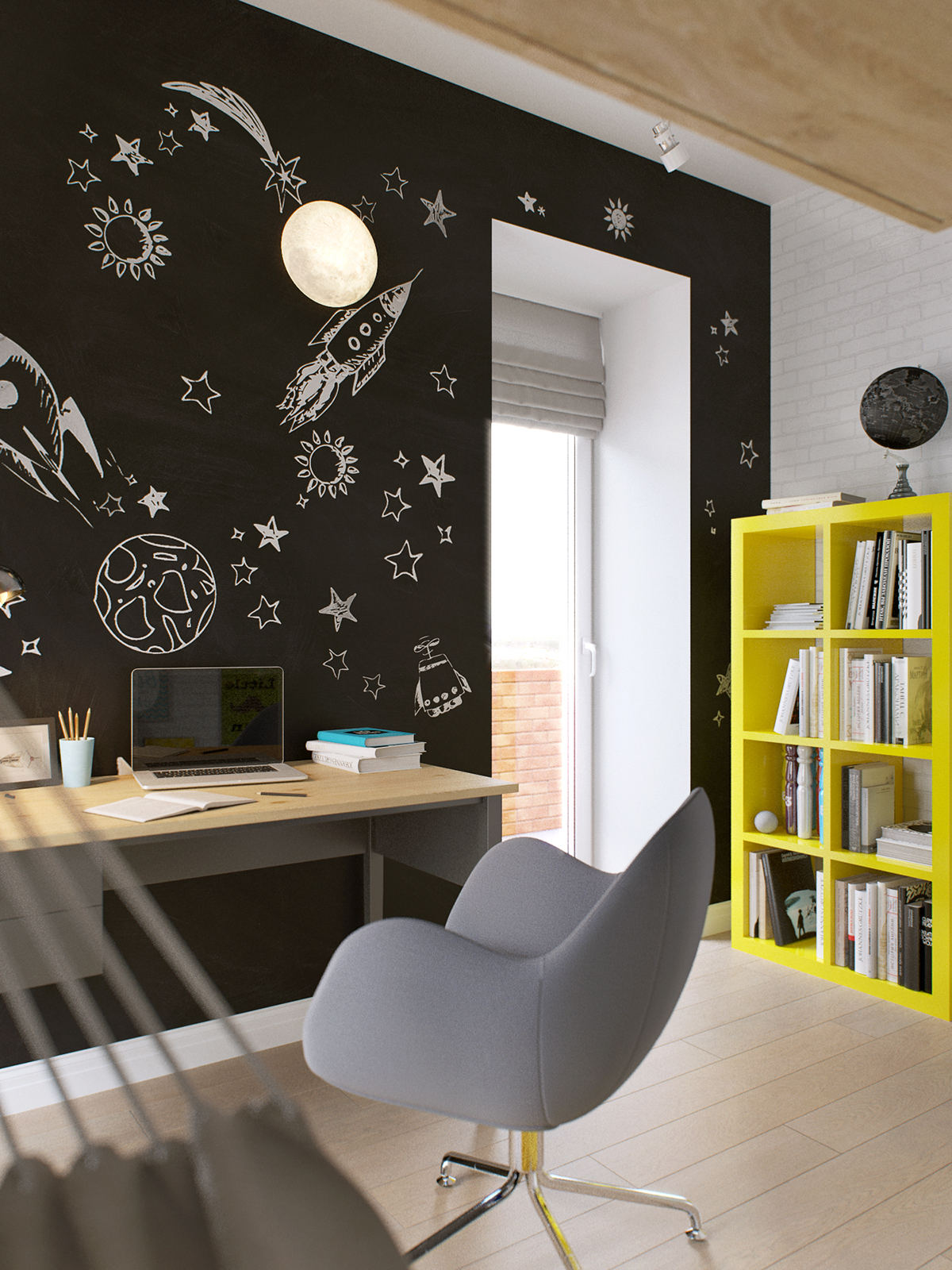 03-The-chalkboard-wallpaper-is-space-themed