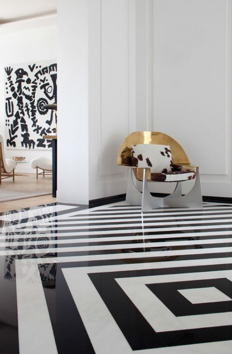 03-black-and-white-stripe-floor-and-dramatic-metal-chair